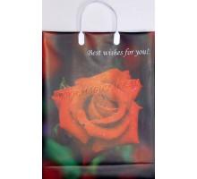 Пакет Алая роза L 10 /С, мягкий пластик, 320*400+100мм, MagicPack