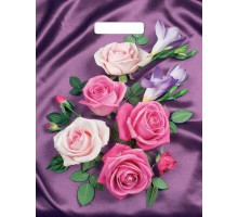 Пакет Атласные розы, вырубная ручка, 400*310мм