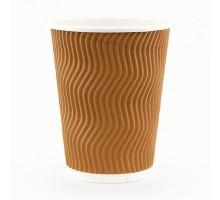 Гофрированный бумажный стакан, 350 мл, с повышенным слоем ламинации, 25шт/уп