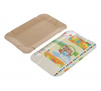 Тарелка картонная прямоугольная, 13х20см, под чебуреки/пирожки, не фольгированная, 100 штук/уп