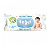 Детские влажные салфетки Angel Baby Care Premium, с клапаном, голубые, 120 шт\уп