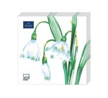 """Салфетка банкетная """"Белый цветок"""", 33х33см, 3 слоя, Art Bouquet"""