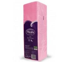 Салфетка бумажная Plushe Интенсив, 24x24см, розовая, 1-слой, 400 штук/уп