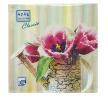 "Салфетка банкетная ""Натюрморт с тюльпанами"", 33х33см, 3 слоя, Home Collection"