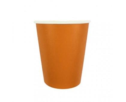 Стакан бумажный, 250 мл, Оранжевый, 50 штук/уп