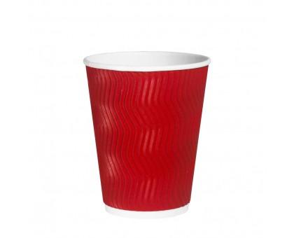 Стакан бумажный, 250 мл, 2 слоя, Волна, Красный, 25 штук/уп