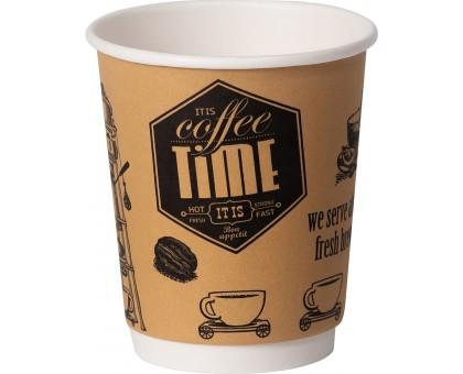 Стакан бумажный, 250 мл, 2-слоя, Кофе Тайм, для горячих и холодных напитков, 30 штук/уп
