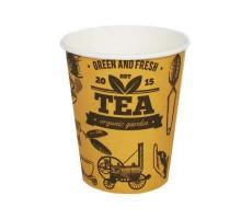 Стакан бумажный, 350 мл, 2-слоя, Кофе Тайм, для горячих и холодных напитков, 25 штук/уп