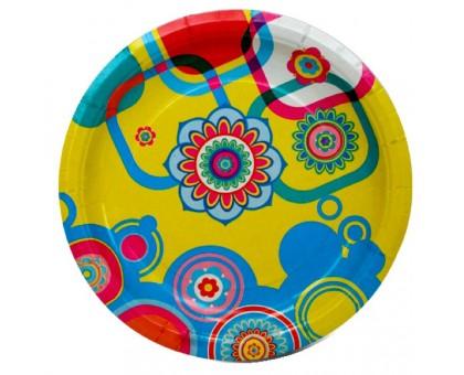 Тарелка одноразовая бумажная лакированная, 230мм, Адажио, 50 шт/уп