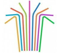 Трубочка для коктейлей и соков, цветная, с гофрой, 8х240мм, 250шт/уп