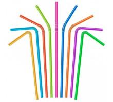 Трубочка для коктейлей и соков, цветная, с гофрой, 5х210мм, 250шт/уп