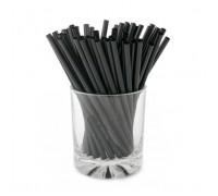 Трубочка пластиковая, черная, 5х125мм, без гофры, Мартини Мини, 400шт/уп