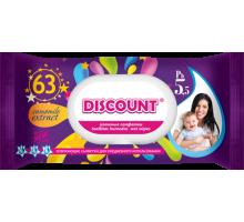 Влажные салфетки Discount с пластиковой крышкой для детей с экстрактом алоэ, 63 шт