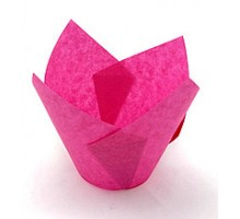 Бумажная форма для маффинов Тюльпан, 50х80мм, розовая, 200 штук\уп